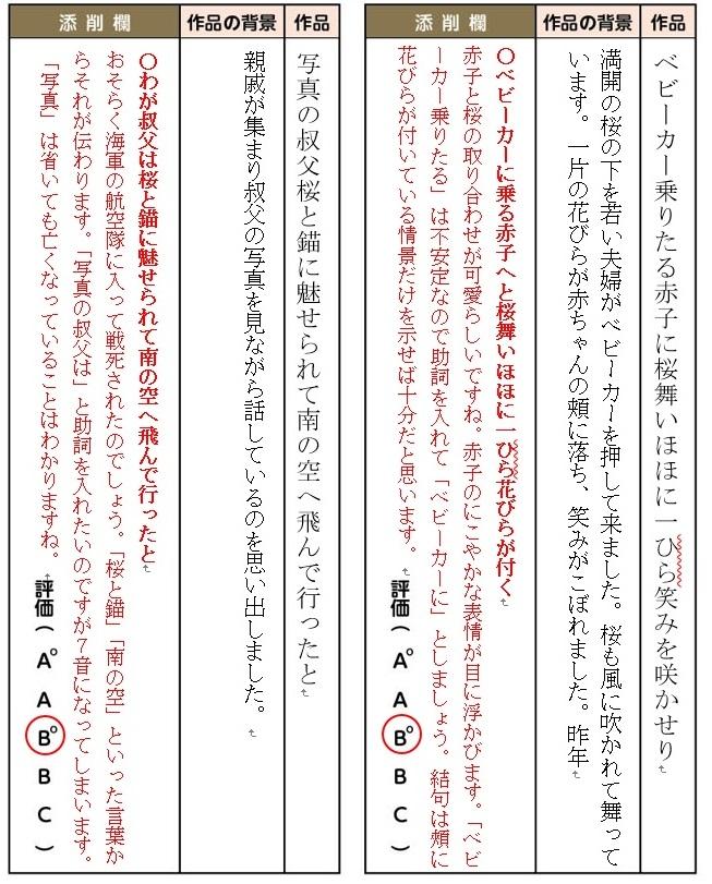 松村先生の添削は、わかりやすいと好評です(添削例)